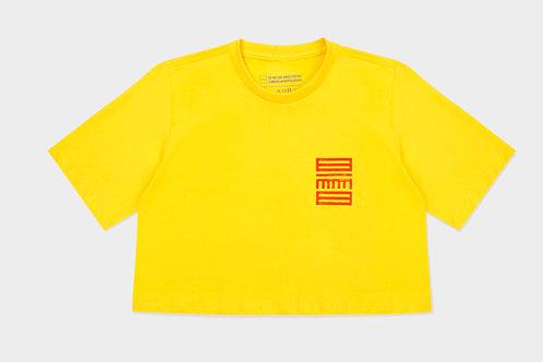 Cropped ZMBNGUO 2 Mundos Amarelo Unissex