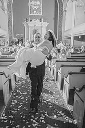 wedding bride carried down Isle