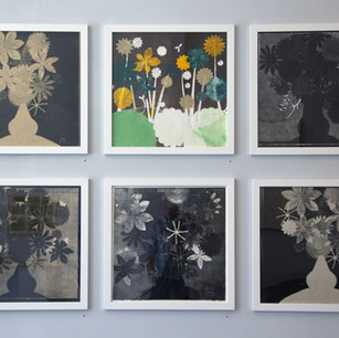 Gallery view of monoprints. 22x22::Flower Trophy Series
