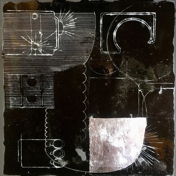 Scrapes 2019 18x18 drypoint, resin + silver leaf