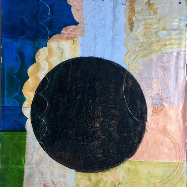 Blackspot 2 2019 12x16 paper, cellophane, paint, resin