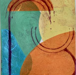 Color Study 2, cine colle and mono print on grey BFK, 8x10 2021