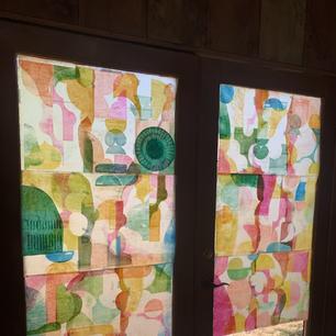 Petaluma Double doors 28x 78 each, monoprint and local bee's wax on rice paper. 2021