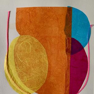 Color Study 1, cine colle and cord mono print on grey BFK and cord, 8x10 2021