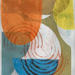 Color Study 3, cine colle and mono print on grey BFK, 8x10 2021