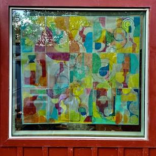 Petaluma Windows outside view, 67x48 monoprint and local bee's wax on rice paper. 2021