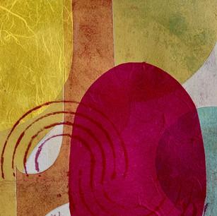 Color Study 5, cine colle and mono print on grey BFK and cord, 8x10 2021