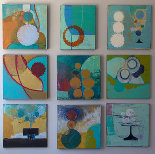 Gallery view of 9 paintings:: 20x20, acrilyc on canvas