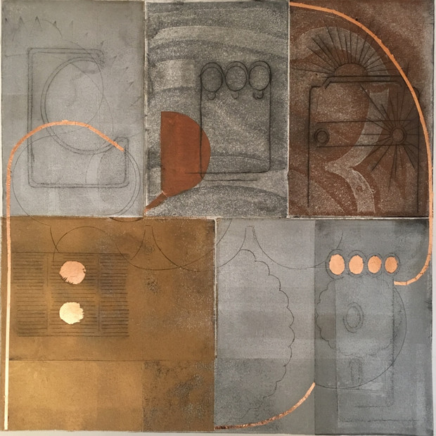 Scrapes 2 2019 18x18 drypoint with copper foil