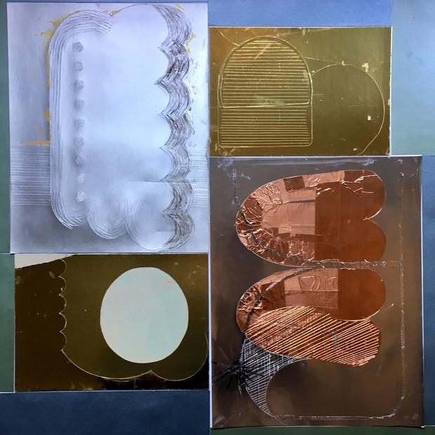 Metallics 1 2019 19x19 foil, ink on metallic paper
