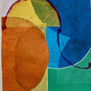 Color Study 4, cine colle and mono print on grey BFK 8x10 2021