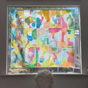 Petaluma Windows inside view, 67x48 monoprint and local bee's wax on rice paper. 2021