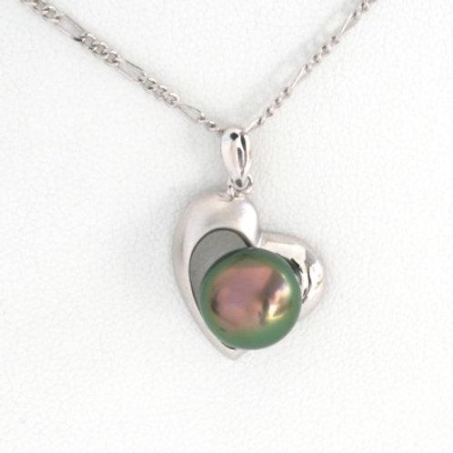 Pendentif Argent Perle 9.6mm, Couleur vert&rose