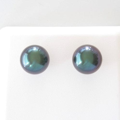 Boucles d'Oreilles Or 18K Perle 10.08 mm Aubergine