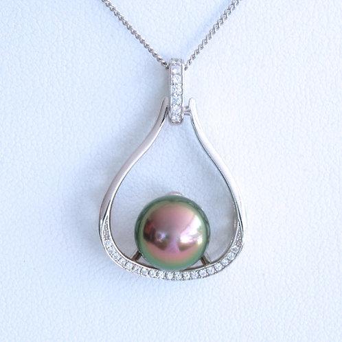 Pendentif Argent Perle 10.1mm, Couleur vert&rose
