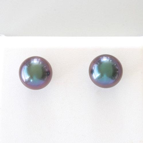 Boucles d'Oreille Or 18k Perles 8,80 mm,Rose Vert