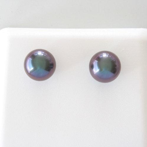 Boucles d Oreilles Or 18K,Perles 8,98mm Aubergine
