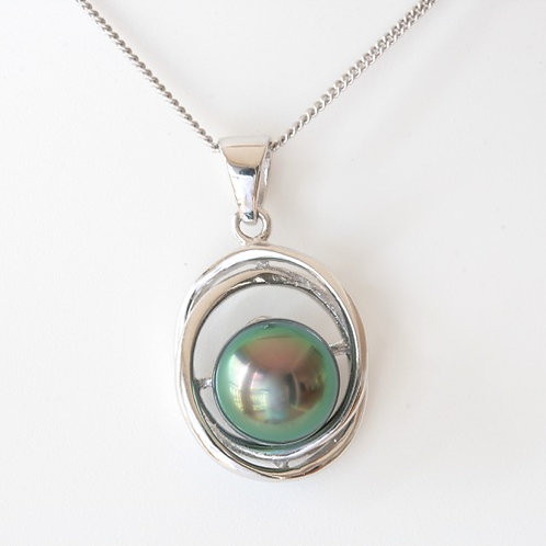 Pendentif Argent Perle 9.41 mm Couleur vert&rose