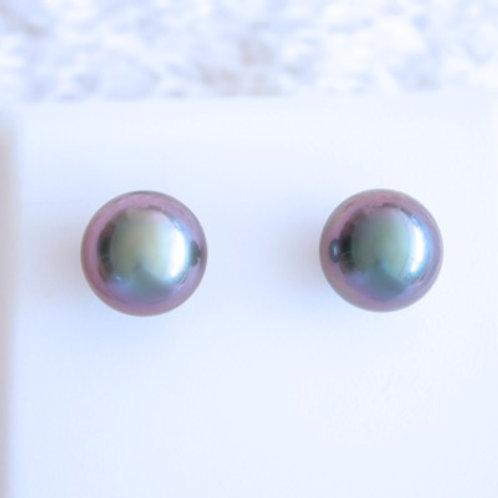 Boucles d'oreilles OR 18 K Perle 9.02mm Rose Blue