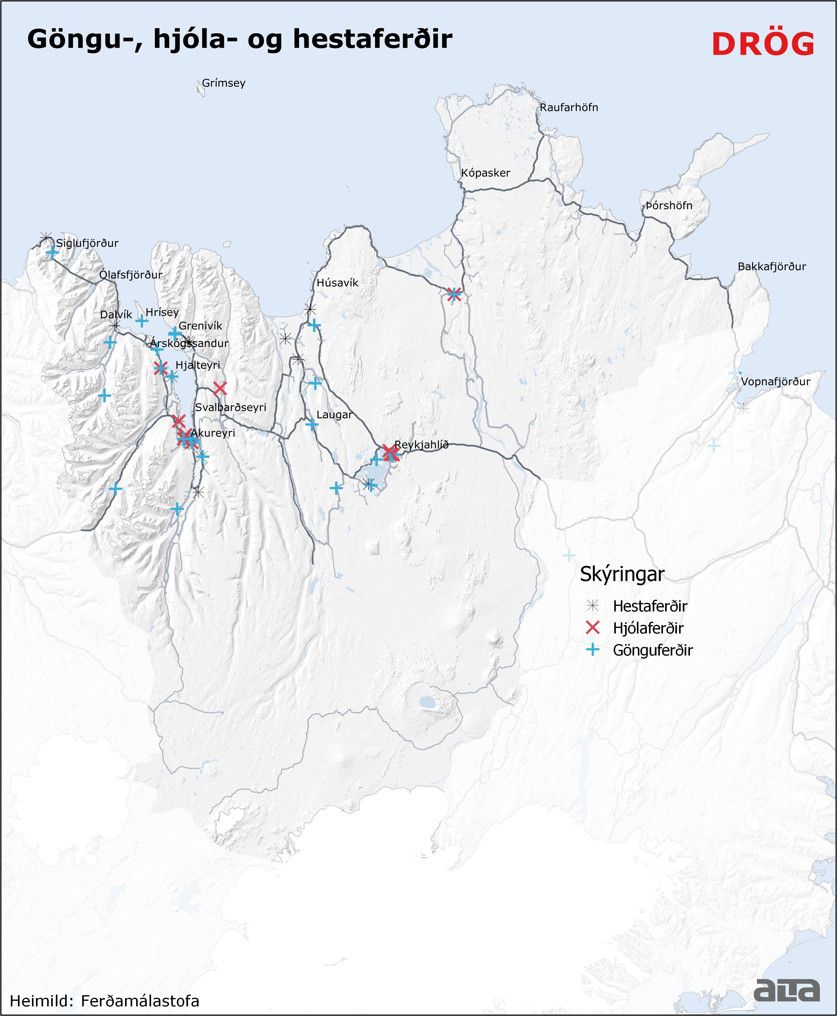 Göngu, hjóla og hestaferðir