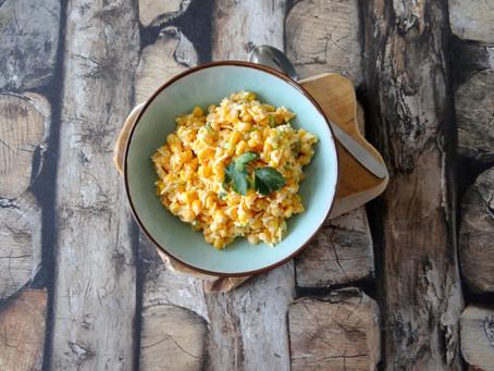 Pittige salsa van maïs, lente-ui en oude kaas van Hanneke de Jonge, Culinea