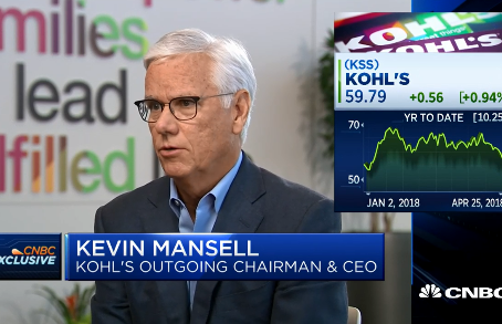 Kohl's CEO Kevin Mansell is 'much more positive' about 2018 as he prepares to step down