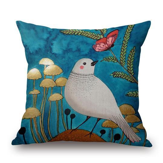 Aqua Bird Cushion With Filler (DT)