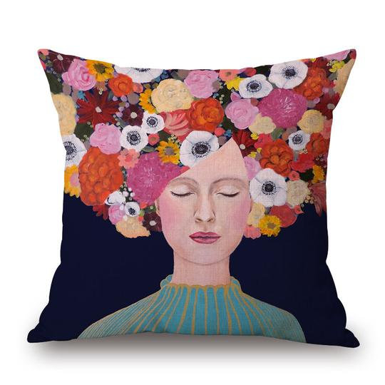 Frida Floral Head Cushion With Filler (DT)