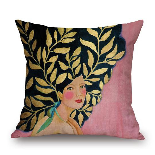Gold Leaf Head Cushion With Filler (DT)