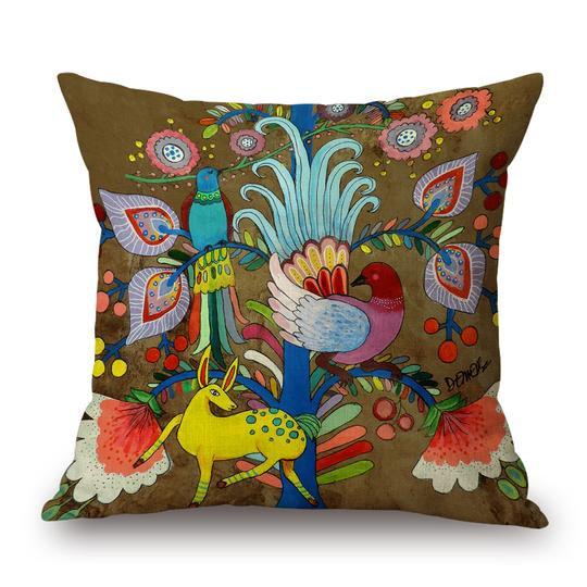 Folk Brown Cushion With Filler (DT)