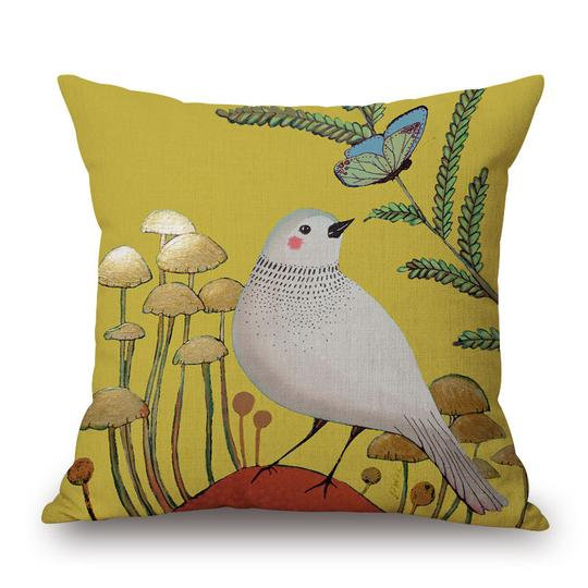 Yellow Bird Cushion With Filler (DT)