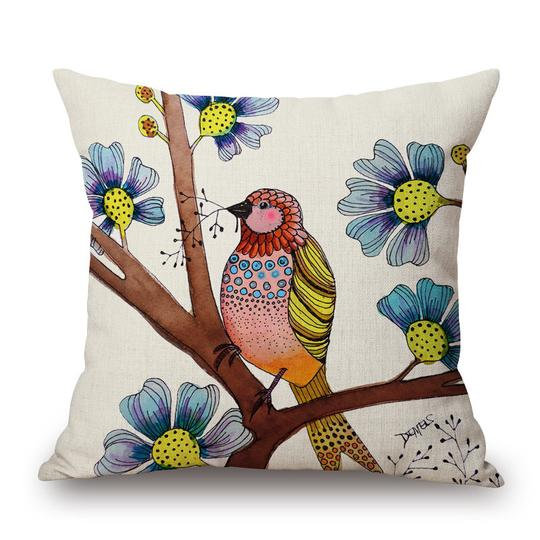Ivory Bird Cushion With Filler (DT)