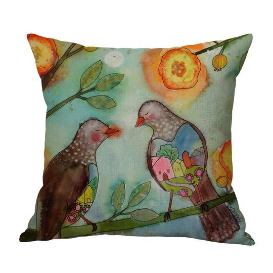 Two Birds Cushion With Filler (DT)