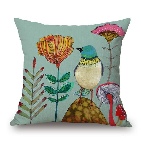 Mushroom Aqua Bird Cushion With Filler (DT)