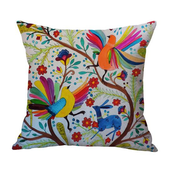 Folk Birds Cushion With Filler (DT)