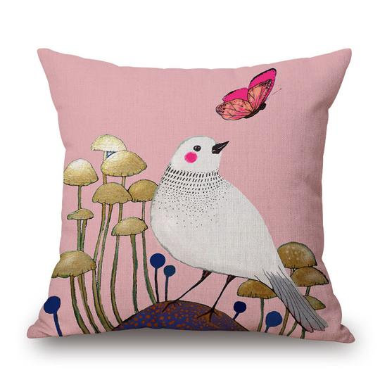 Mushroom Pink Bird Cushion With Filler (DT)