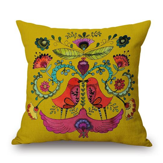 Folk Yellow Cushion With Filler (DT)