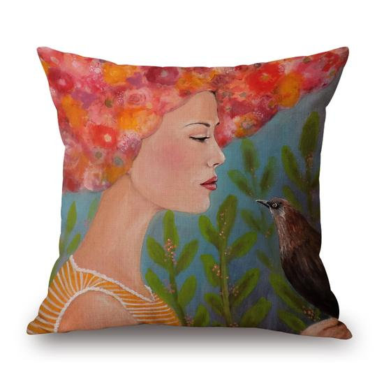 Girl With Bird Cushion With Filler (DT)