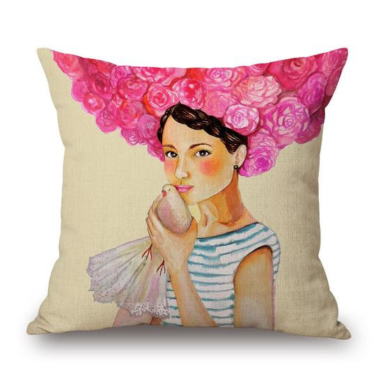 Frida Pink Rose Head Cushion With Filler (DT)
