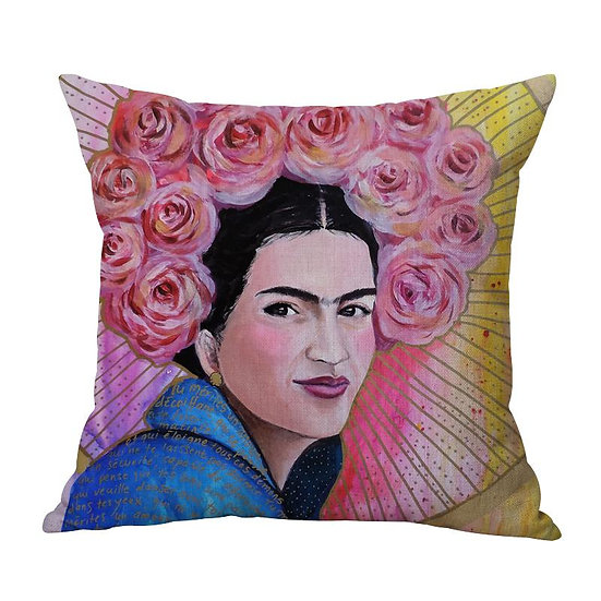 Frida Pink Roses Cushion With Filler (DT)