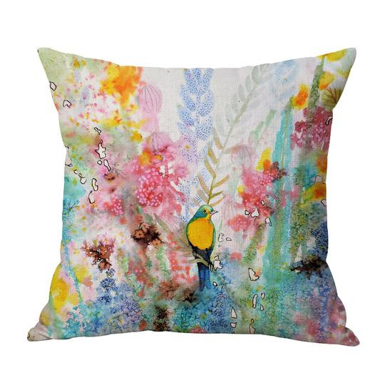 Pastel Birds Cushion With Filler (DT)