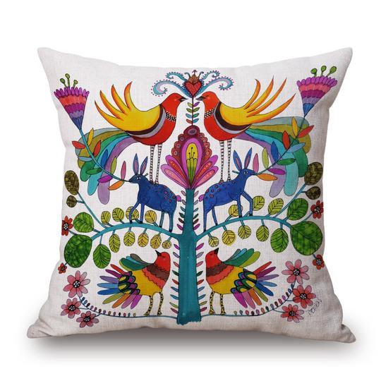 Folk White Cushion With Filler (DT)