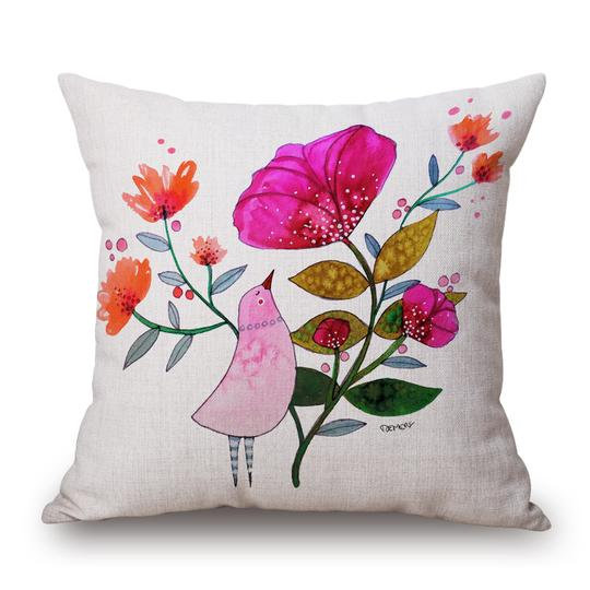 Bird Flower Pink Cushion With Filler (DT)