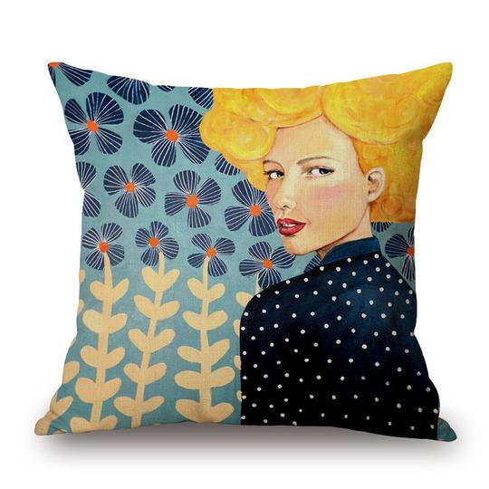 Navy Deaves Head Cushion With Filler (DT)