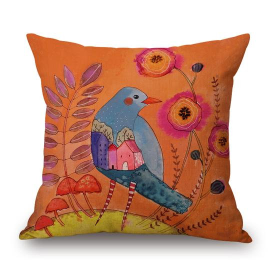 Orange Bird Cushion With Filler (DT)