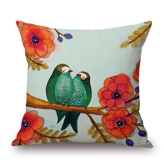 Two Green Birds Cushion With Filler (DT)