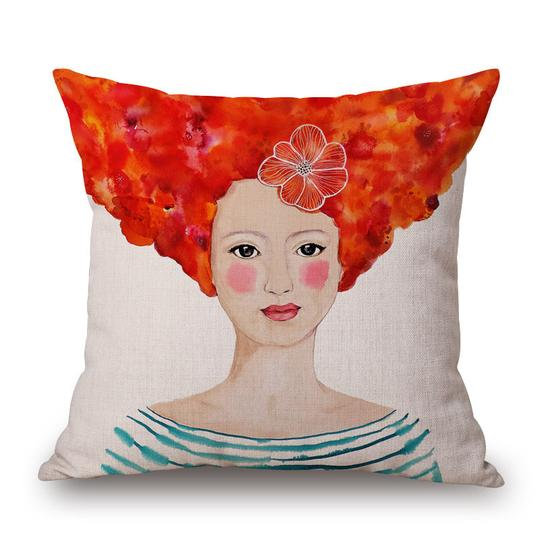 Frida Red Head Cushion With Filler (DT)