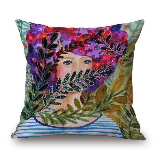 Girl Lavender Head Cushion With Filler (DT)