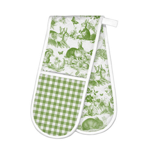 Bunny Toile Double Oven Glove