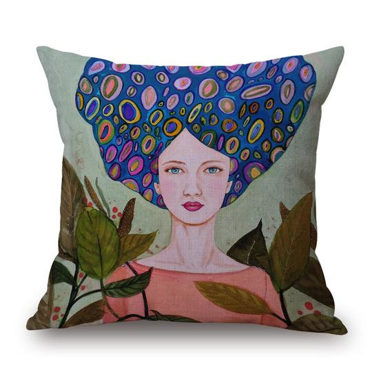 Girl Blue Head Cushion With Filler (DT)